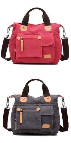 Women canvas casual large capacity functional multi pocket handbag shoulder bag crossbody bag handbags b makowsky #3 #compartment #handbags #handbags #deals #handbags #for #travel #handbags #of #hope
