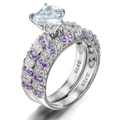 Charming 925 Sterling Silver Heart-shaped CZ Inlaid Engagement Ring Set