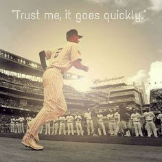 """""""Trust me, it goes quickly."""" -Derek Jeter during his pregame speech in the clubhouse. #ForeveraYankee"""