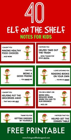 40 Printable Elf on the Shelf Notes For Kids Living + Life Designed | Positive Parenting, Raising Kids, Child Safety, Personal Development and Home