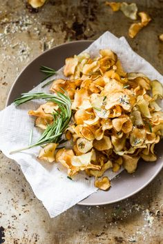 crispy sunchoke chips with lemon-rosemary salt