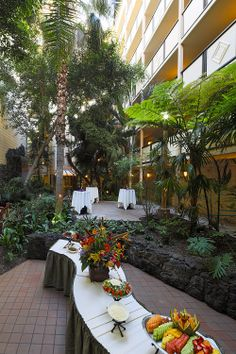 Our lush atrium is perfect for receptions at Crowne Plaza San Diego Hanalei. Waterfalls and koi fish surround the greenery!