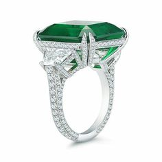 Three stone anniversary ring green emerald cut cocktail party sterling silver #NikiGems #ThreeStone #Anniversary