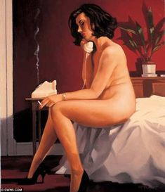 Famous: The phone can be seen in this picture of Vettriano's famous painting The Arrangement