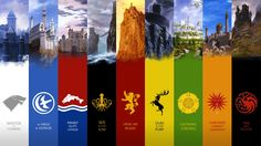 The Nine Houses of Westeros (from left to right): Starks of Winterfell; Arryns of the Vale; Tullys of Riverrun; Greyjoys of Pyke; Lannisters of Casterly Rock; Baratheons of Storm's End; Tyrells of Highgarden; Martells of Dorne; Targaryens of Dragonstone.  That's the classic, obviously, since now Dragonstone also belongs to the Baratheons.  =P