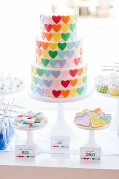 This Sweet Birthday Party Is Perfect For Any Kiddo Who Loves Rainbows and Hearts This rainbow-heart themed birthday party is too cute to handle! Get all of the adorable details here. Unique Birthday Cakes, Beautiful Birthday Cakes, Birthday Cake Girls, Beautiful Cakes, Heart Birthday Cake, 15 Birthday, Rainbow Parties, Rainbow Birthday Party, Birthday Parties