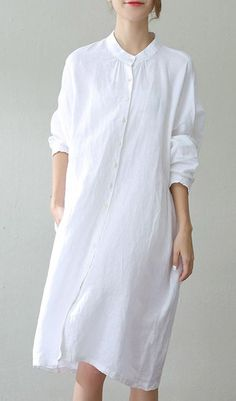 d36cf884cd2 fashion white linen caftans oversize Stand wrinkled caftans top quality  long sleeve pockets kaftan