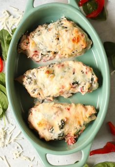 Roasted Red Pepper Chicken Bake Recipe | Six Sisters' Stuff Red Pepper Recipes, Recipes With Chicken And Peppers, Chicken Stuffed Peppers, Baked Chicken Recipes, Spinach Stuffed Chicken, Pepper Chicken, Casserole Dishes, Casserole Recipes, Stuffed Pepper Casserole