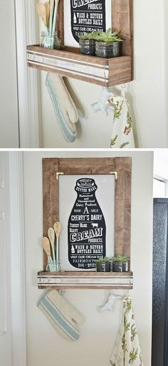 DIY Planter Box Picture Frame   Click Pic for 28 DIY Kitchen Decorating Ideas on a Budget   DIY Home Decorating on a Budget