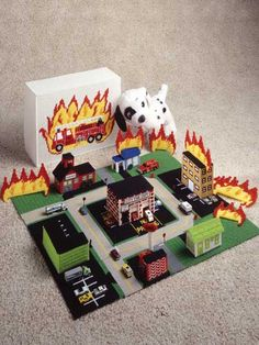 Plastic Canvas_Firefighters Town for boys