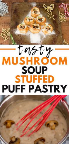 Mushroom Soup Stuffed Puff Pastry Imagine creamy mushroom soup, savory swiss cheese, and delicious puff pastry – and that's what Holiday Appetizers, Yummy Appetizers, Appetizer Recipes, Soup Recipes, Brunch Recipes, Snack Recipes, Snacks, Creamy Mushroom Soup, Creamy Mushrooms