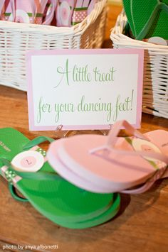 Wedding reception flip flop basket!