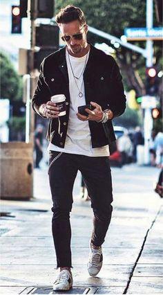 69 Ideas Sport Style Men Outfits Mens Fashion For 2019 Sport Style, Rock Style, Man Style, Style Rock Hommes, Rocker Style Men, Rocker Chic, Black Shirt Outfit Men, Men Shirt, Sport Fashion