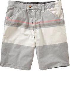 "Men's Reversible-Patterned Poplin Shorts (9"") | Old Navy"