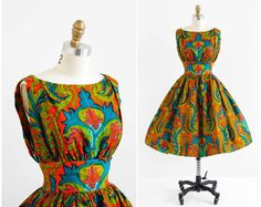 vintage 1960s dress / 60s dress / Teal and Orange by RococoVintage, $346.00