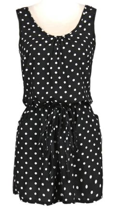 ++ Black Sleeveless Bandeau Polka Dot Dress