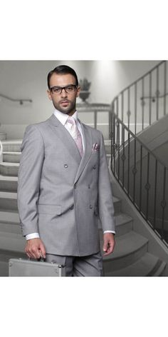 Men's 2 Pc DB Fashion Suit by STATEMENT - Grey