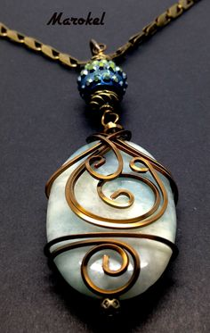 Aquamarine Wire Wrapped Pendant Brass square Wire Aqua by marokel