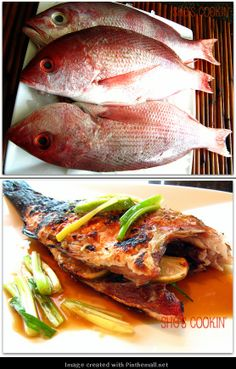 Grilled Whole Fish with Soy, Ginger Sauce asian cooking Fish Dishes, Seafood Dishes, Fish And Seafood, Shrimp Recipes, Fish Recipes, Asian Recipes, Asian Foods, Chinese Recipes, Chinese New Year Food