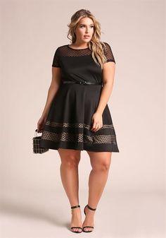 Plus Size Polka Dot Belted Flared Dress