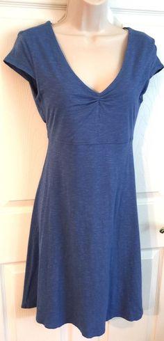 Horny Toad Small Dress Blue Rosemarie Organic Cotton Slub V Neck Stretch Cap Slv  | eBay