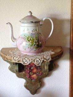 Antique enamelware teapot.
