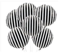 Set of 6 classy black and white striped Mylar balloons  Black and white stripes Perfect for your glam party or Kate Spade inspired event! Also great for sports events, birthdays and more!  Larger quantities and matching accessories available-please see our other listings! Also available in other colors! Contact us for a custom listing or larger order!  Shipped flat- Fill with helium Do not overfill