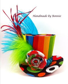 TIny Top Hat - Mini Top Hat - Rainbow, Colorful, Striped, Spotted
