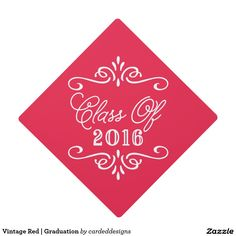 Vintage Red | Graduation Graduation Cap Topper