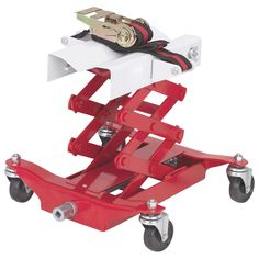 450 Lbs Capacity Low Lift Transmission Jack with Safety Chain/Strap Saddle tilts for easy positioning. Large 13 x contoured cradle. Non-marring swivel casters. 43 L nylon safety strap. Easy Rolls, Metal Working Tools, Work Tools, Garage Workshop, Workshop Ideas, Car Shop, Small Cars, Things To Sell, Safety