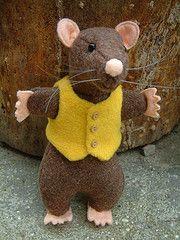 isn't he cute? love his buttons .... (RaggyRat) Tags: animal yellow toy back cool team rat doll soft handmade plush pack vest waistcoat raggyrat