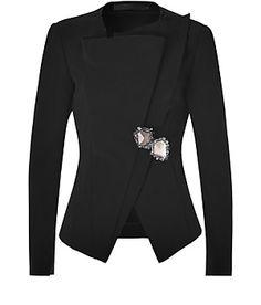 DONNA KARAN  Black Jacket with Brooch