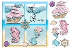 A sea and sand frame surrounds our underwater fantasy. A mermaid, sailing ship and sea horse on a water background. Decoupage the ship, mermaid, seahorse, shells and ships wheel. Ideal for little girls. Birthday Verses For Cards, Birthday Cards, Happy Birthday, Carnival Fantasy, Car Card, Water Background, Fairy Princesses, Printable Crafts, Card Maker
