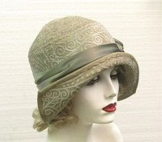 Great Gatsby Vintage Style 1920s Womens Hat in Sage Green Art Nouveau