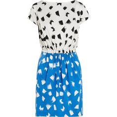 Diane von Furstenberg Odea printed silk-jersey dress ($173) found on Polyvore