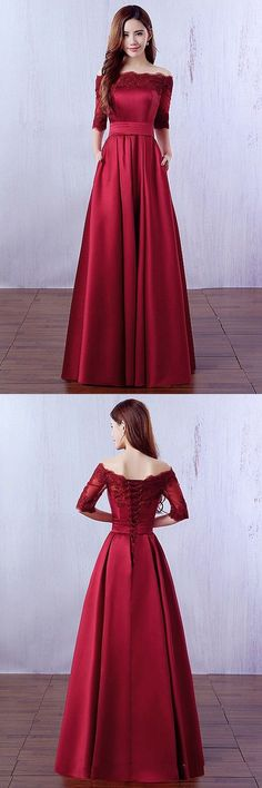 Cheap Prom Dresses, Off the Shoulder Prom Dress, Burgundy Evening Dresses, 1 2 Sleeve Party Dresses, Satin Formal Dresses - Party & Wedding Cheap Prom Dresses, Trendy Dresses, Homecoming Dresses, Cute Dresses, Fashion Dresses, Bridesmaid Dresses, Formal Dresses, Party Dresses, Graduation Dresses