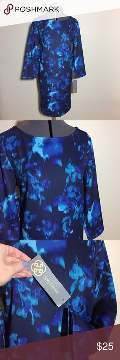 """NWTs! Blue Abstract Floral Shift Dress NWTs! Daisy Fuentes Blue Abstract Floral Shift Dress. Material feels like lightweight neoprene. Size L measures: 17"""" across shoulders, 21"""" across chest, 22"""" across hips, 20"""" sleeve, 35"""" long. 92% poly, 6% spandex. Org $68. 120/400/12617 Daisy Fuentes Dresses Long Sleeve"""