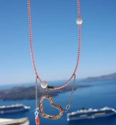 ασημένια καρδιά για το λαιμό σειρά κέντημα στο ασήμι! κοράλια και μαργαριτάρι γλυκού νερού... #mestella_handmade #mestella_svp #jewelry #handmade #piraeus #photoshooting at #santorini