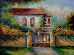 ART~ I love This Painting Particularly The Shadows On The Walls And On The Grass. . .If I Could Only Step Inside To Smell The Air . . .But It's Only A Painting- Alas! ~ Artist Gina Femrite