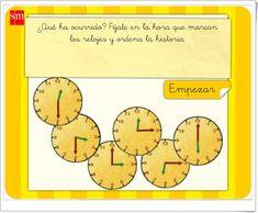 """Aprende con Pupi: """"Ordena los relojes"""" (Juego de Matemáticas de Primaria) Maths Area, Math Games, Teaching Resources, Clocks"""