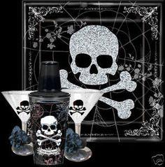 Halloween Skull Tray Shaker Martini Party Set Decor