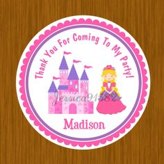 Princess Party Favor Stickers  Name and Personal by jessica91582, $3.50