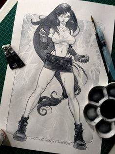 TIFA LOCKHART - FF 7 - Inks and watercolor by rogercruz on DeviantArt