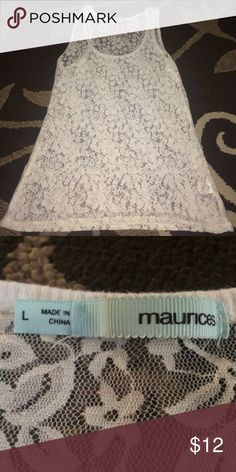 White lace tank top size L Beautiful size L from Maurices lace tank! Looks amazing layered, with out without a cardigan! Excellent condition, smoke free home, make me an offer and don't forget to bundle! Maurices Tops Tank Tops