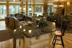 Log Cabin Homes from Golden Eagle Log Homes, extensive collection of home plans or custom designs log home especially for you. Log Cabin Kitchens, Log Cabin Homes, Log Cabins, Barn Homes, Kitchen Bar Design, Kitchen Ideas, Kitchen Designs, Hickory Cabinets, How To Build A Log Cabin