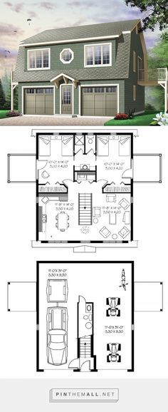 House Plans And More, Small House Plans, House Floor Plans, Garage Apartment Plans, Garage Apartments, 3 Bedroom Garage Apartment, Design Garage, House Design, Plan Garage