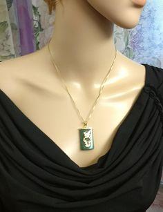 Jade Opal Ruby Sapphire Vermeil Pendant Necklace Vintage