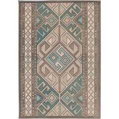 Mavrick Teal and Gray Rectangular: 2 Ft 8 In x 5 Ft Rug - (In Rectangular)