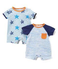 Another great find on  zulily! Blue  amp  Orange Star Romper Set - Infant d38839b4c128d