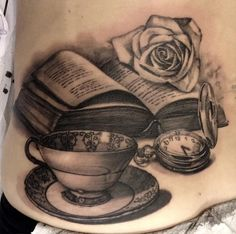 Tattoo by Matteo Pasqualin... thinner/ tea leaf reading book and swap watch for some tarot cards ???